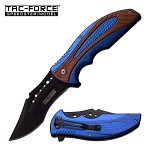 Tac Force Spring Assisted Knife Black Blue Bronze Handle