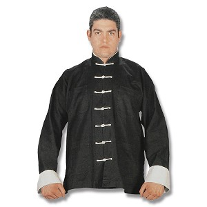 Black Kung Fu Uniform with White Buttons - Large