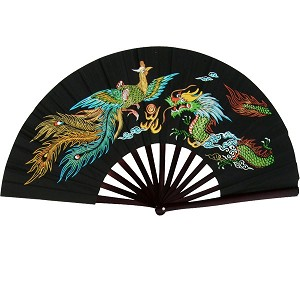 Kung Fu Fighting Fan - Phoenix - Dragon with Black Finish