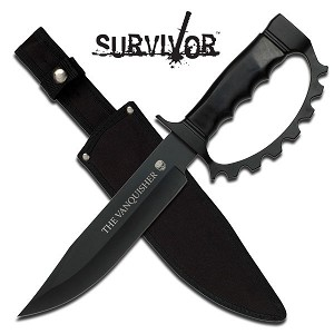Survivor Fixed Blade Trench Knife 13.5 Inch Overall With Black Pakkawood Handle