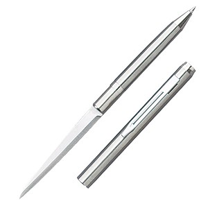 Ink Pen Knife with Plain Edge - Silver Finish