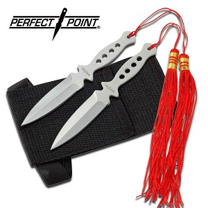 "2 Piece Silver Stainless Steel Throwing Knives with Tassles - 5"" Overall"