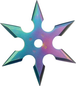 6-Point Rainbow Stainless Steel Throwing Star with Pouch - 2.75