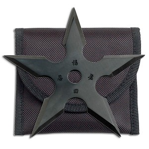 5 Point Black Titanium Coated Throwing Star with Pouch - 4