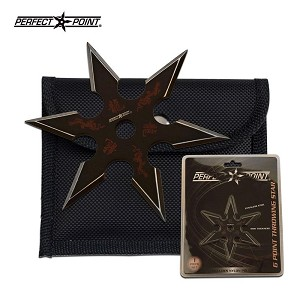 4mm Black Dragon Throwing Star with 6 Points in Clam Shell Pack