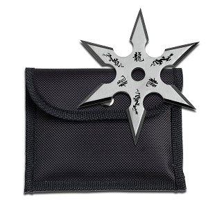 4MM  Dragon Throwing Star Silver Color with 6 Points includes Nylon Sheath