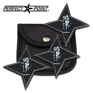 Perfect Point 3 Inch Diameter and 3MM Thick Throwing Star 3 Piece Set