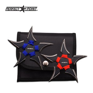 Perfect Point 2 Piece 2 Tone Blade Throwing Stars Set Blue and Red