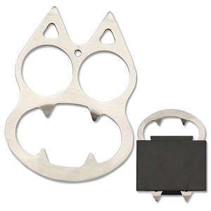 Silver Knuckle Self Defense - Silver Cat Includes Pouch