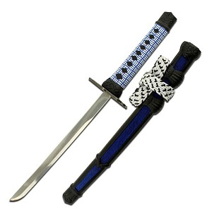 8 Inch Samurai Sword Letter Opener with Scabbard and Stand - Blue