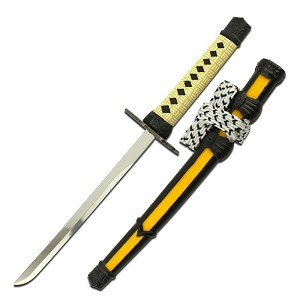 8 Inch Samurai Sword Letter Opener with Scabbard and Stand - Yellow