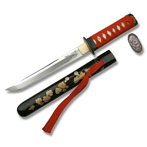 Hand Sharpened Carbon Steel Tanto with Golden Leaf Scabbard