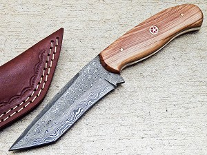 Damascus Steel Custom Handmade Hunting Skinning Tanto Knife 8.5""