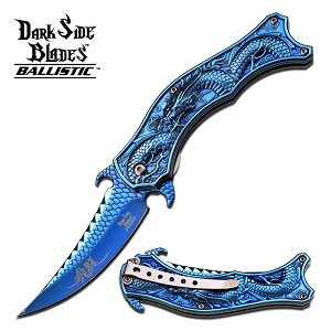 Dark Side Blades Dragon Spring Assisted Folding Knife - Blue Titanium