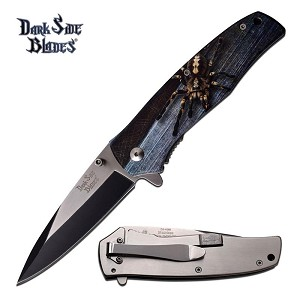 Dark Side Blades Spring Assisted Spider Design Knife Plain