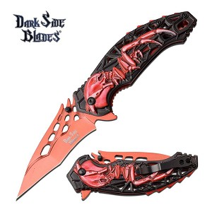 Dark Side Blades Skull and Spider Spring Assisted Folding Knife Red