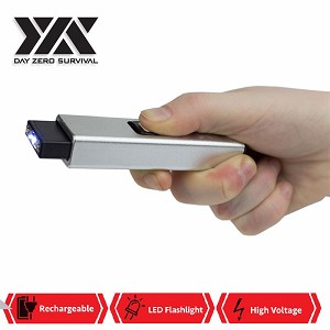 DZS Rechargeable Micro USB Self Defense Silver Stun Gun With LED Light