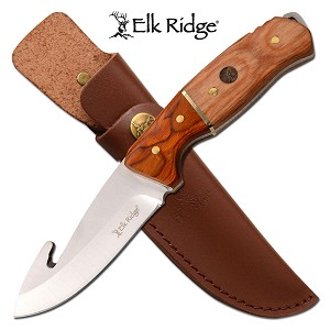 Gut Hook Blade Hunting Knife with Brown Handle Leather Sheath