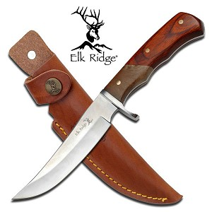 Elk Ridge Wooden Handle Fixed Blade Hunting Knife with Sheath