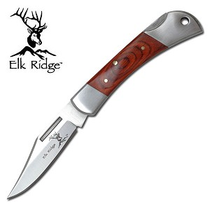 "3 1/4"" Closed Elk Ridge Gentleman's Folder Knife - Wood Handle"