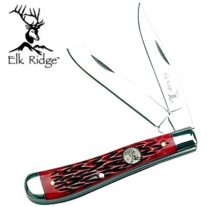 Elk Ridge Trapper Knife with Red Handle
