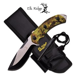 Elk Ridge Fixed Blade Survival Knife with Fire Starter - Green Camo