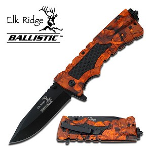 Elk Ridge Ballistic Spring Assisted Tactical Survival Knife - Orange Camo Handle