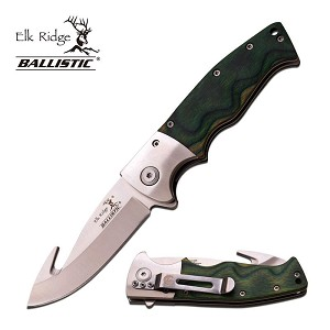 Elk Ridge Ballistic Gut Hook Spring Assisted Knife Green Wood Handle