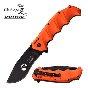 Elk Ridge Ballistic Spring Assisted Opening Folder Knife Orange Handle