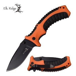 Elk Ridge 5 Inch Closed Spring Assited Knife Orange Black