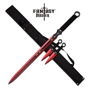 Fantasy Master 3 Piece Set Ninja Sword and Throwing Knife Set Red
