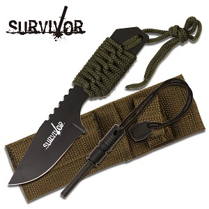 Full Tang Survival Fire Starter Hunting Camping Knife with Flint