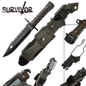 All Black Commander Survival Dagger Knife with Hard Sheath