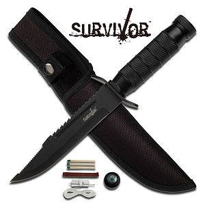 9.5 Inch Black Fixed Blade Survival Hunting Knife with Sheath