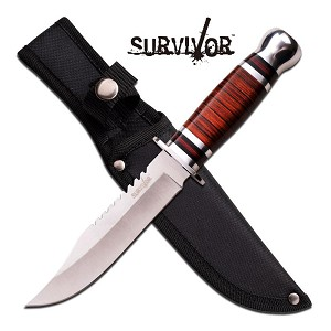 Survivor 10 Inch Satin Finished Fixed Blade Knife - Brown Wood Handle