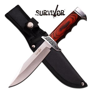 Survivor 10 Inch Satin Stainless Steel Fixed Blade Knife - Wood Handle