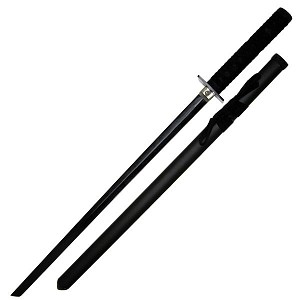 Stealth Black Ninja Sword with Classic Square Guard