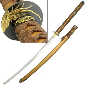 47 Inch Overall Gold Samurai Katana With Hidden Tanto