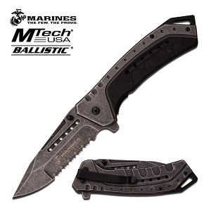 Marines Mtech USA Ballistic Spring Assisted Knife - Stone Wash Black G10 Handle