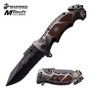 Marines Spring Assisted Knife Brown Pakkawood with Stonewash Handle