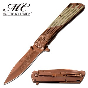 The Eagle and the Man Pocket Knife Spring Assisted Folding Knife Bronze