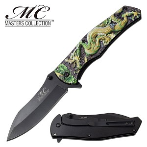 Fantasy Dragon Spring Assisted Opening Pocket Knife Green Gold Dragon