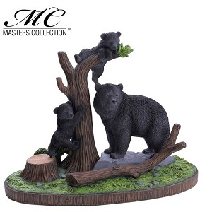 Home Decor Resin Black Bear with Cubs Display with Stand