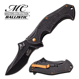 Master Collection Ballistic Stone Wash Spring Action Assisted Knife - Skull and Sword
