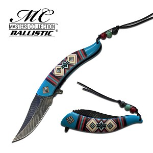 Master Ballistic Feather Spring Assisted Opening Knife - Blue Pattern