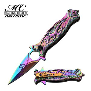 Master Collection Ballistic Ninja Spring Assisted Knife Rainbow Ti-Coated