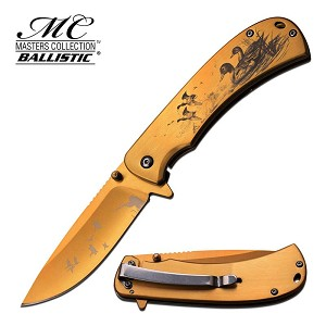 MC Ballistic Duck Design Spring Assisted Folding Knife Gold