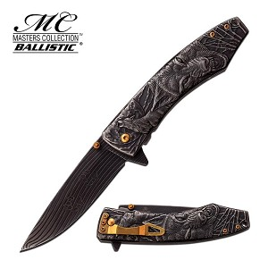 Master Collection Ballistic Spring Assisted Knife Stone Wash Wolf Handle