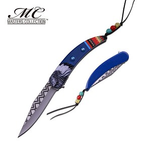 Native Indian Spring Assisted Folding Knife Blue