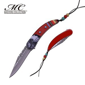 Native Indian Spring Assisted Folding Knife Red